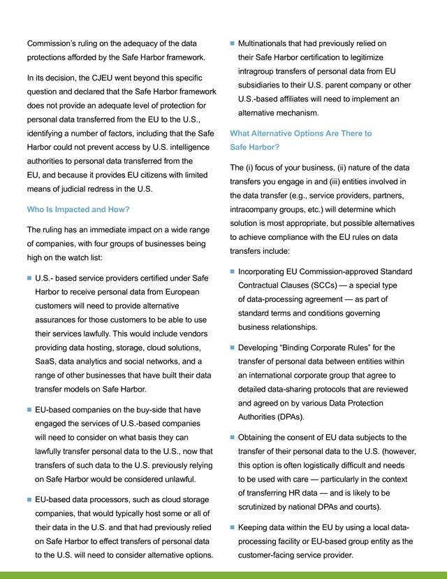 Advisorselect - No Safe Harbor for EU-U.S. Data Transfers - October 2015