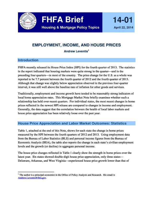 Advisorselect Fhfa Brief 14 1 Employment Income And