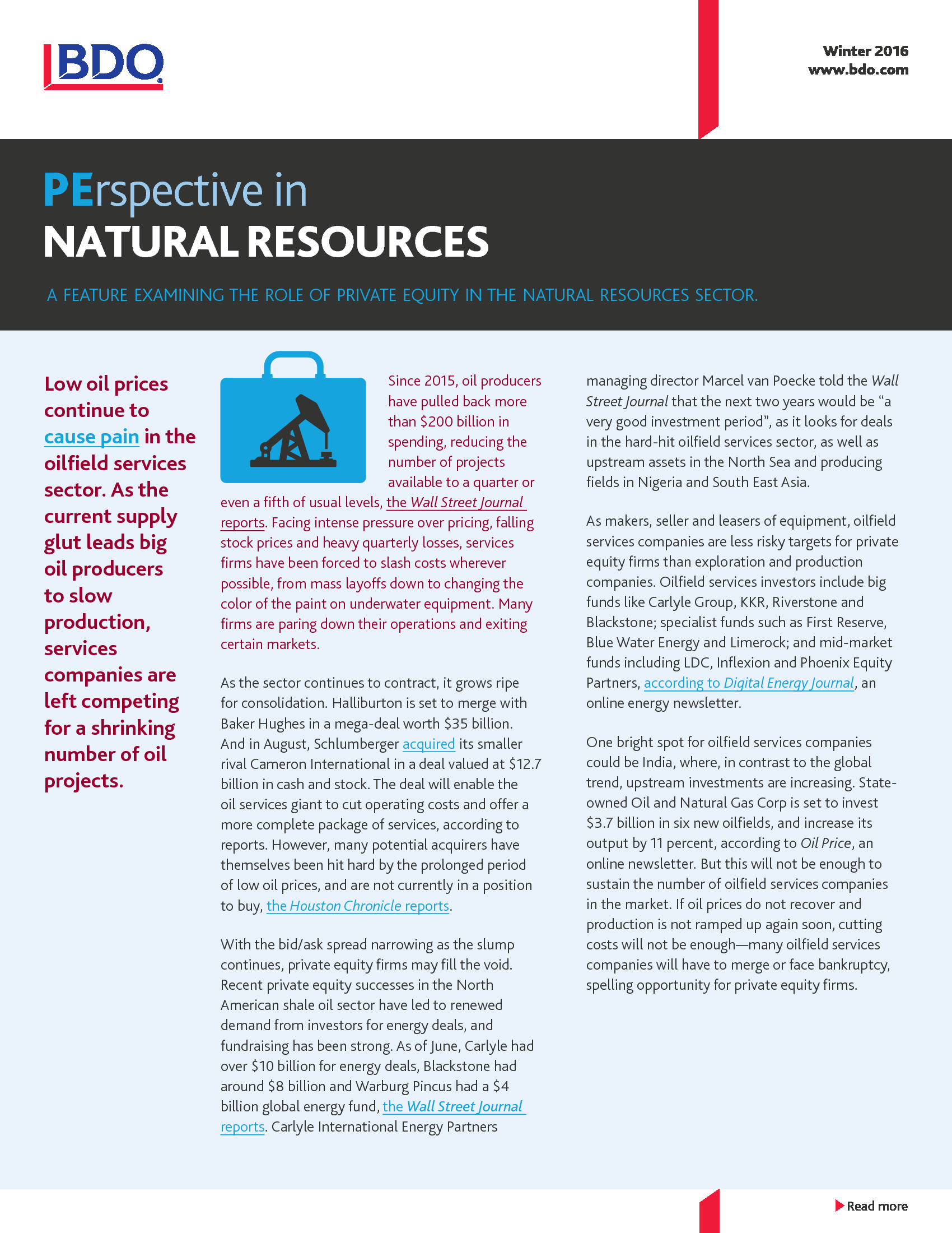 Advisorselect - Perspective in Natural Resources - Winter 2016