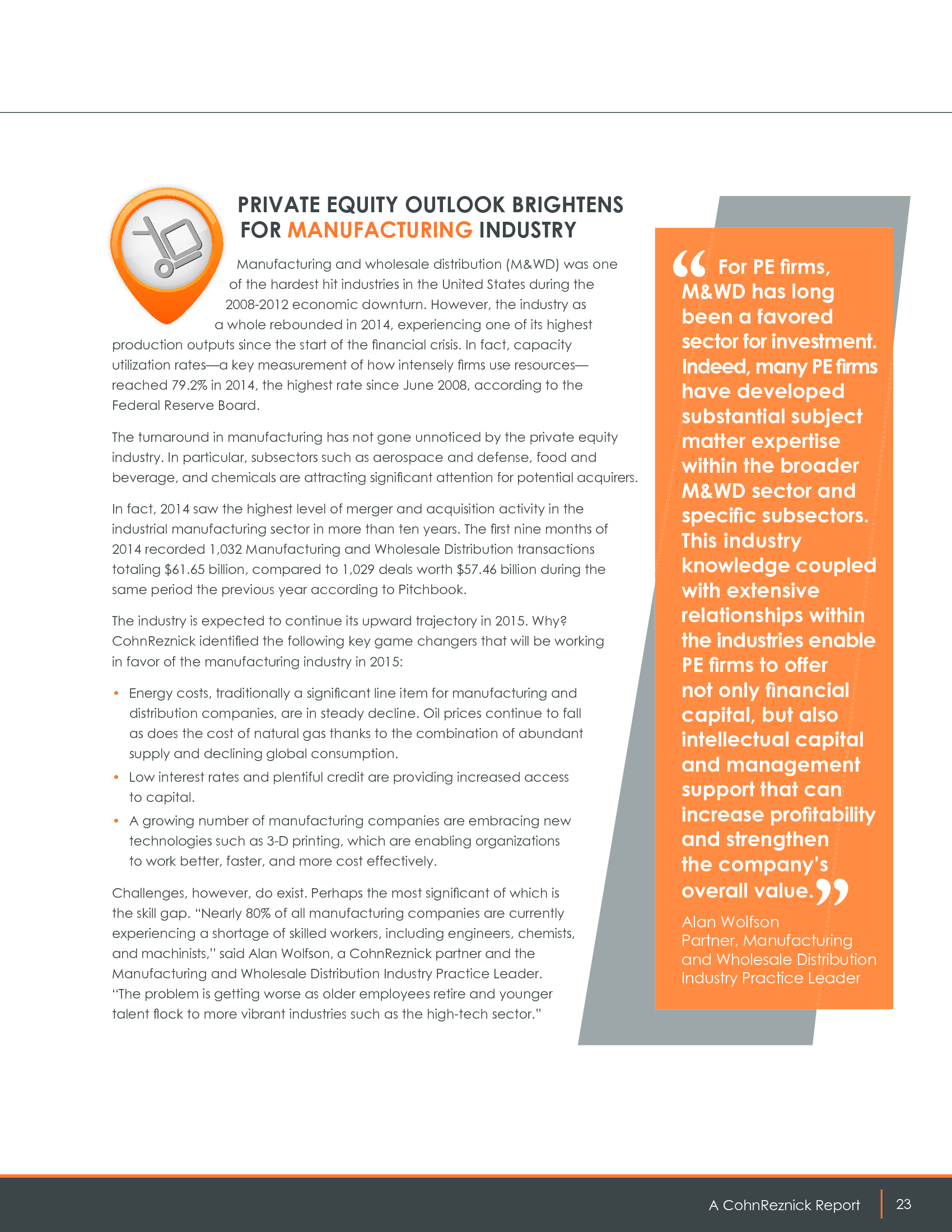Advisorselect - 2015 Middle Market Private Equity Outlook