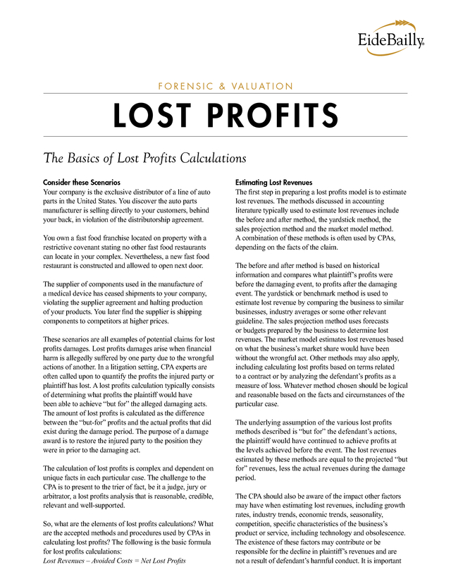 advisorselect the basics of lost profits calculations forensic