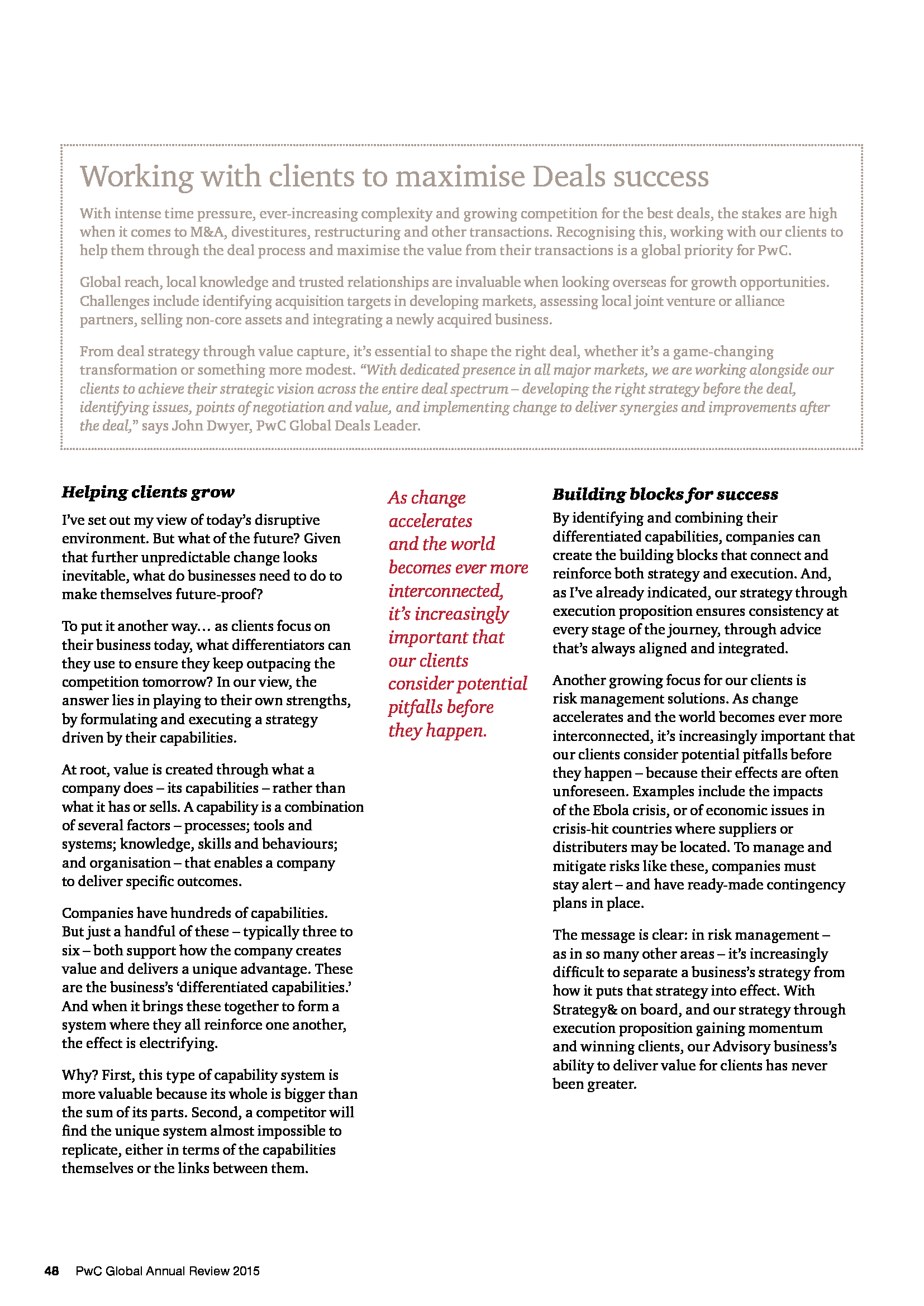 Advisorselect - Shaping our future - Global Annual Review 2015