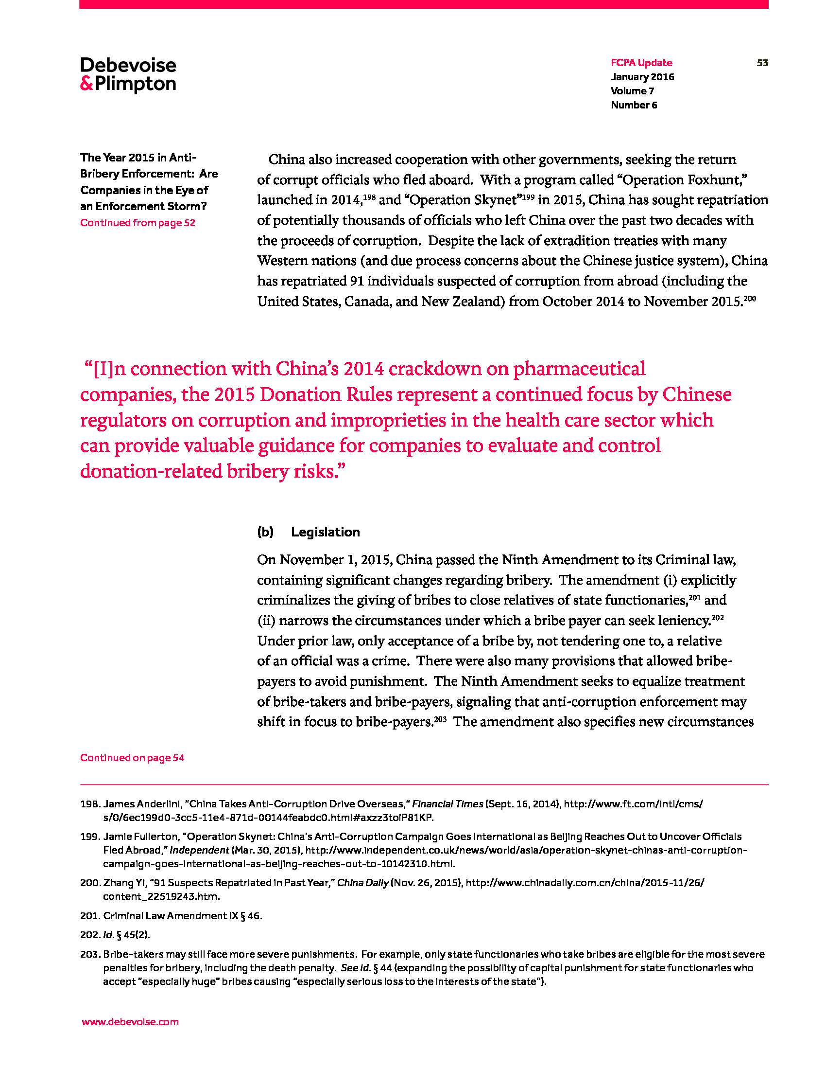 Advisorselect - FCPA Update January 2016
