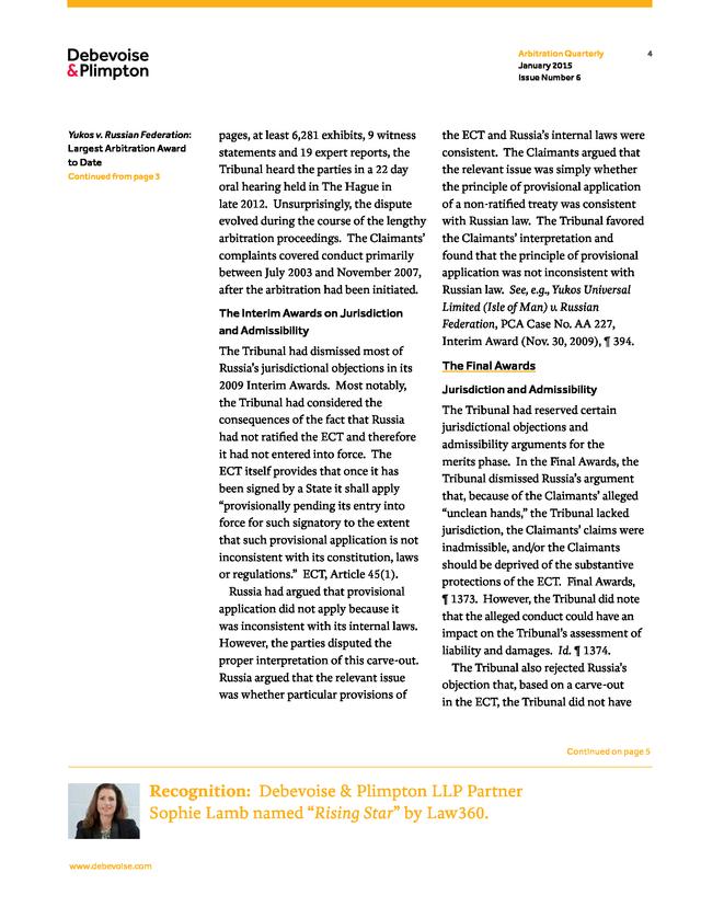 Advisorselect - The Arbitration Quarterly Issue 6 - January 2015