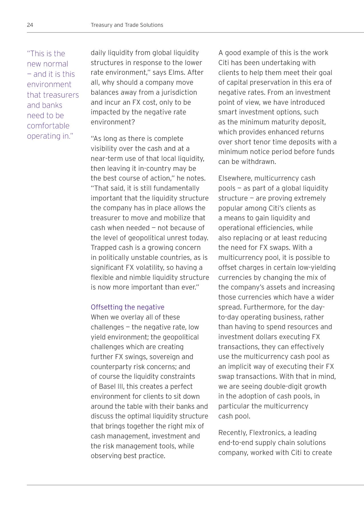 Advisorselect - Citi Treasury Advisory Quarterly Fall - 2015