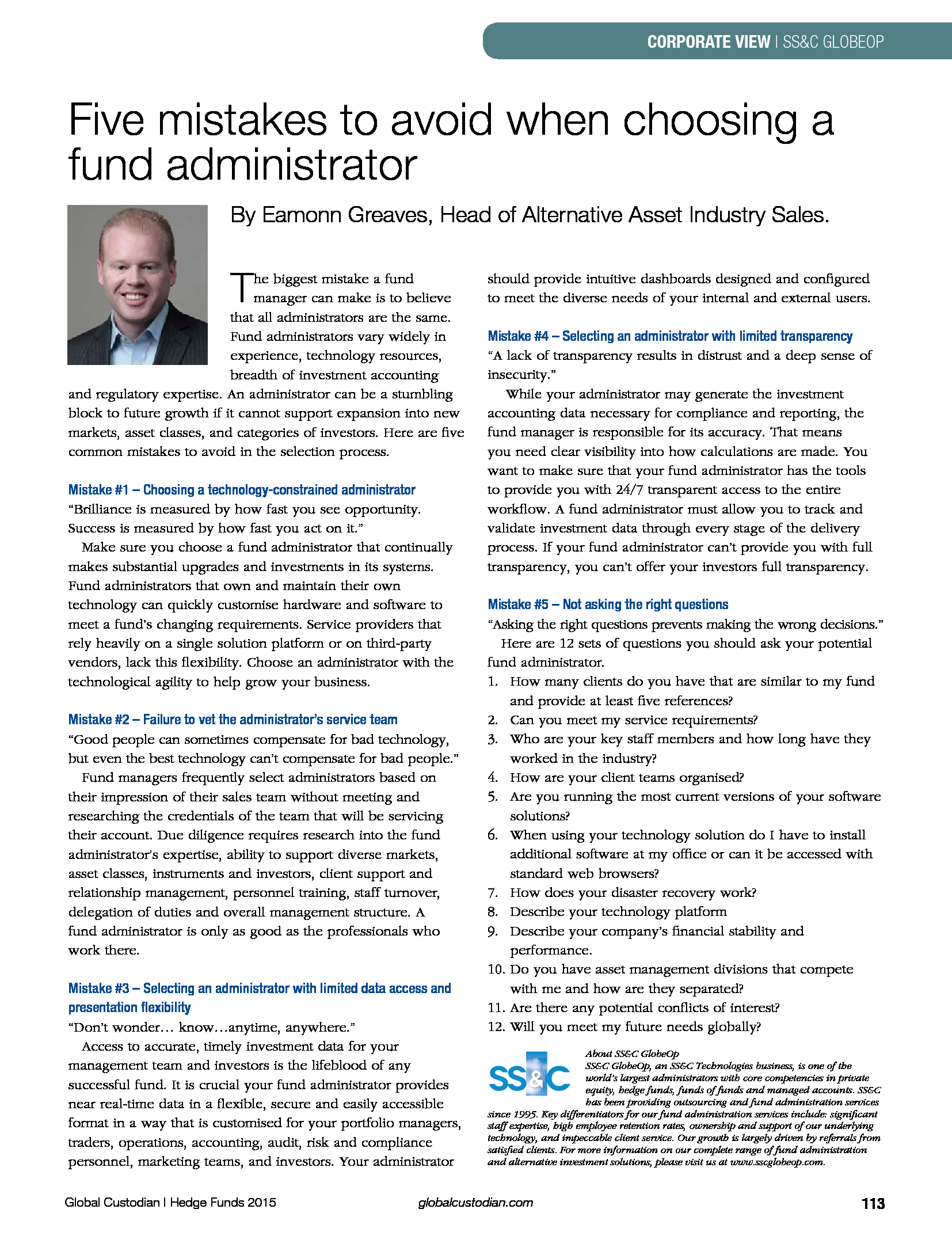 Advisorselect - The Hedge Fund Issue - Five mistakes to