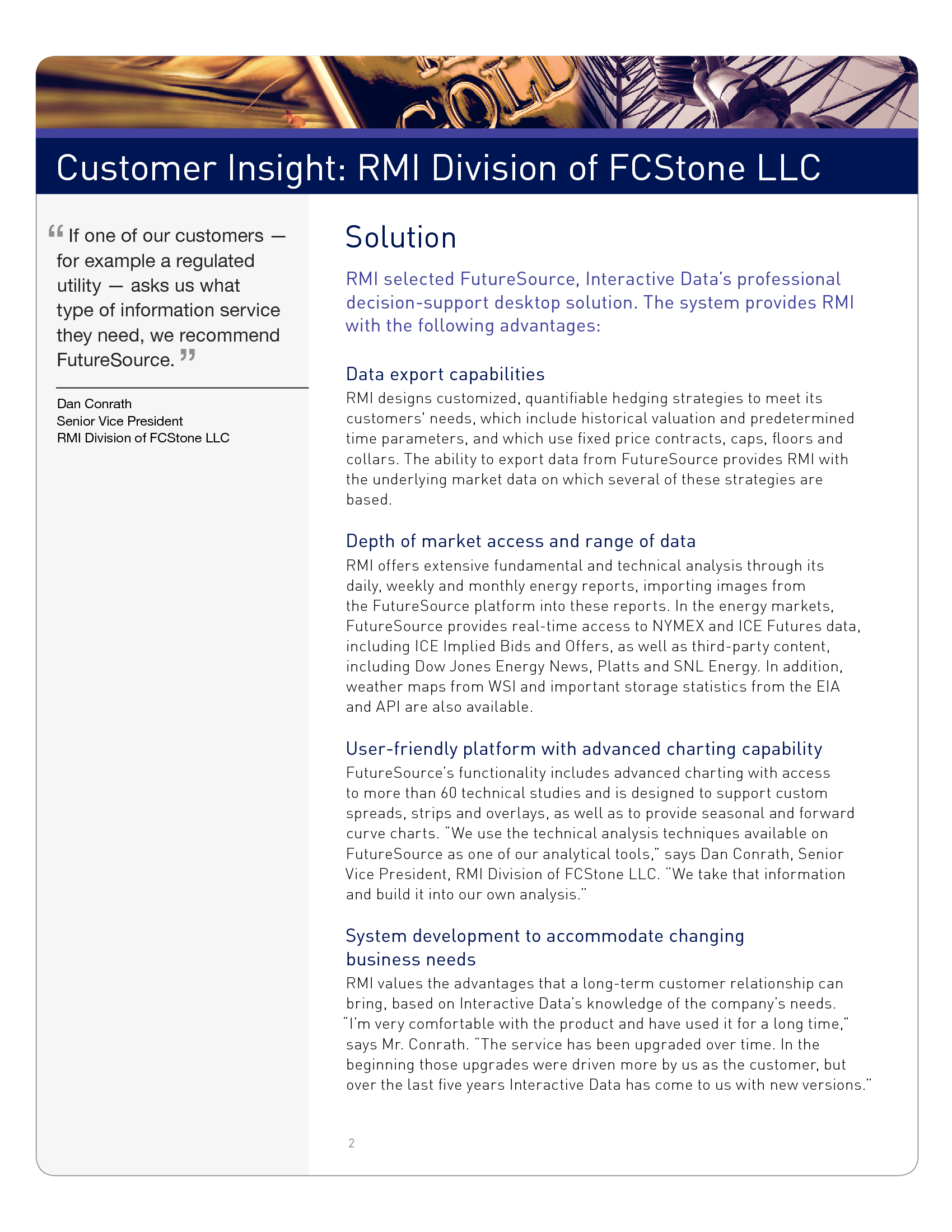 Advisorselect - Customer Insight: RMI Division of FCStone