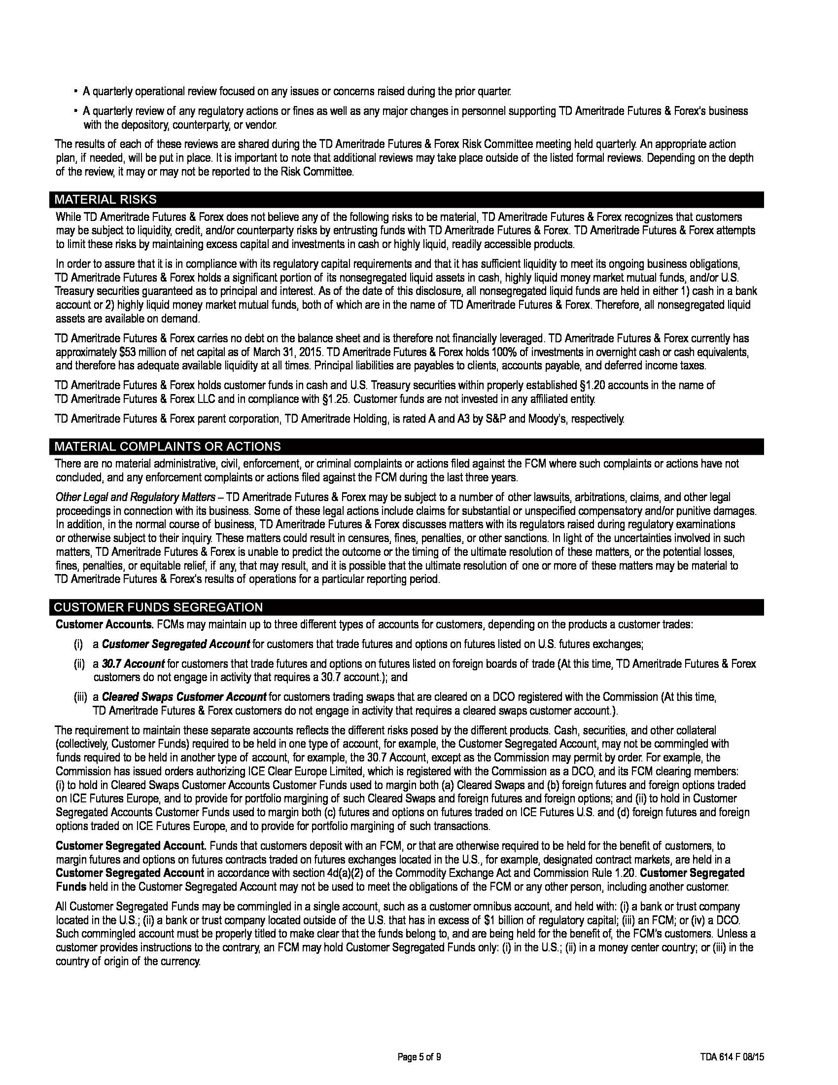 Advisorselect - TD Ameritrade Futures & Forex LLC FCM