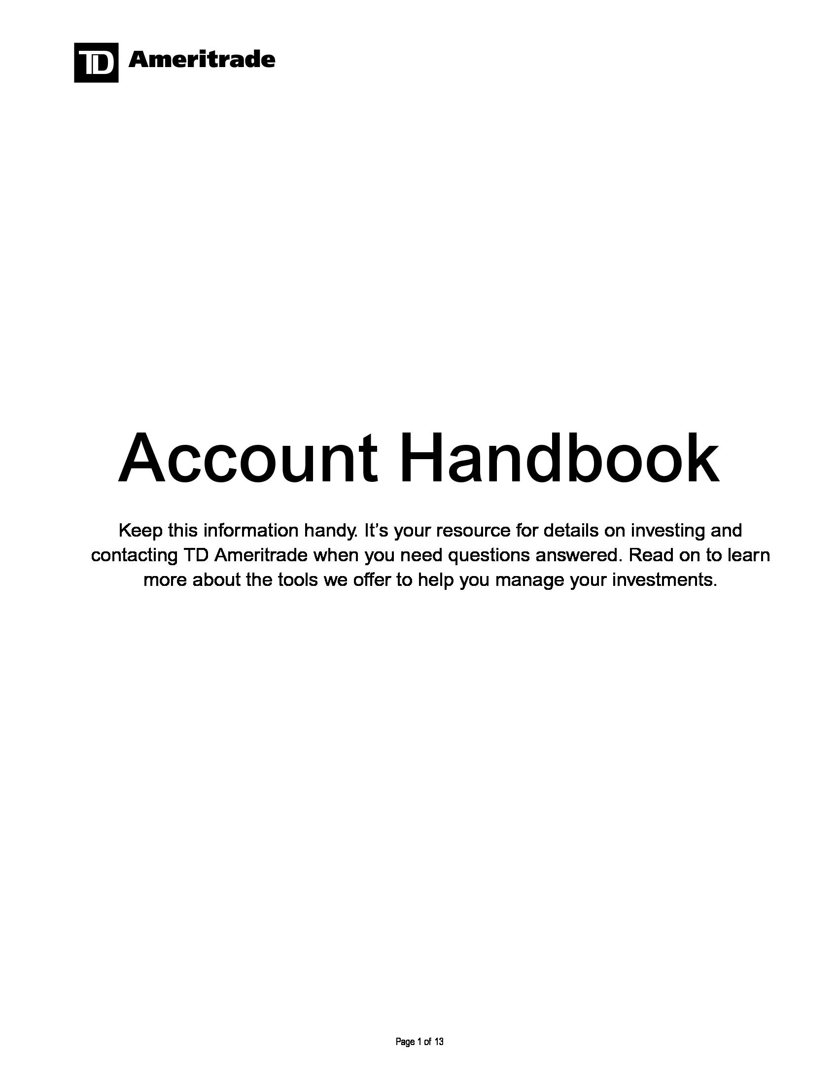 Advisorselect TD Ameritrade – Account Handbook