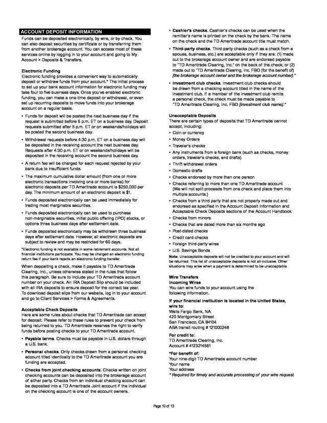 advisorselect td ameritrade account handbook rh advisorselect com TD Ameritrade Customer Login TD Ameritrade Login Page