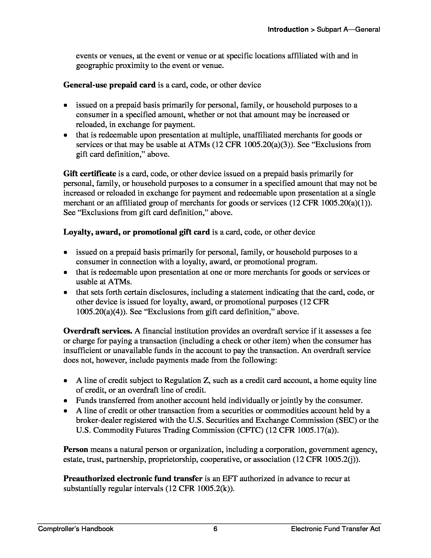 advisorselect - electronic fund transfer act, comptroller's handbook