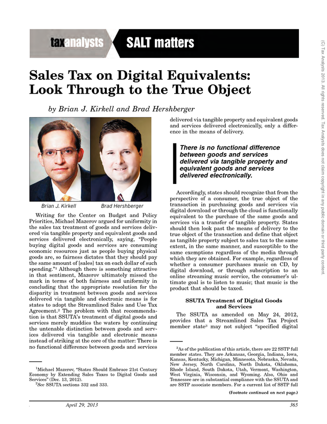 Advisorselect - Sales Tax on Digital Equivalents: Look