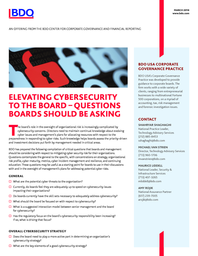 Advisorselect - Elevating Cybersecurity to the Board – Questions