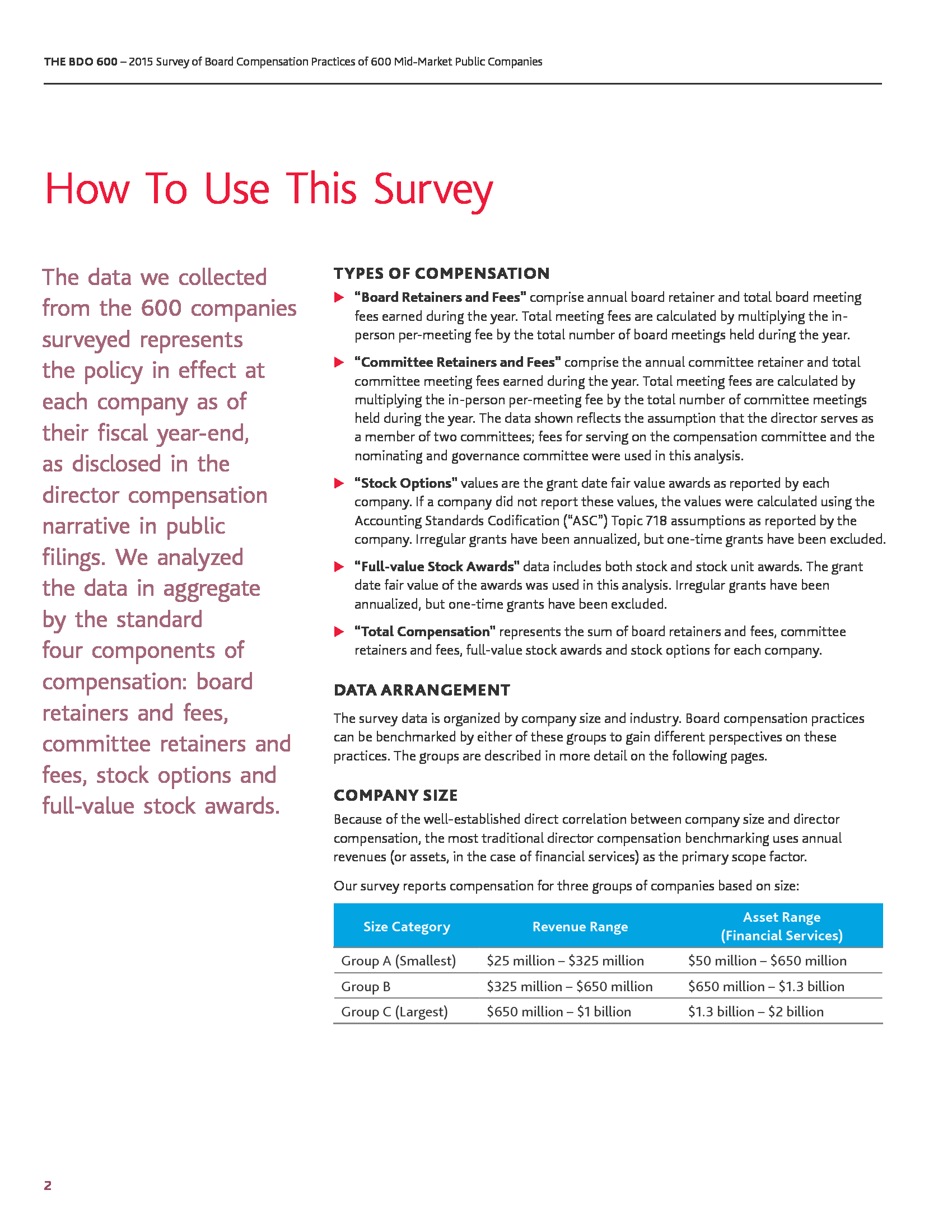 Advisorselect - The BDO 600 - The BDO 600 survey details