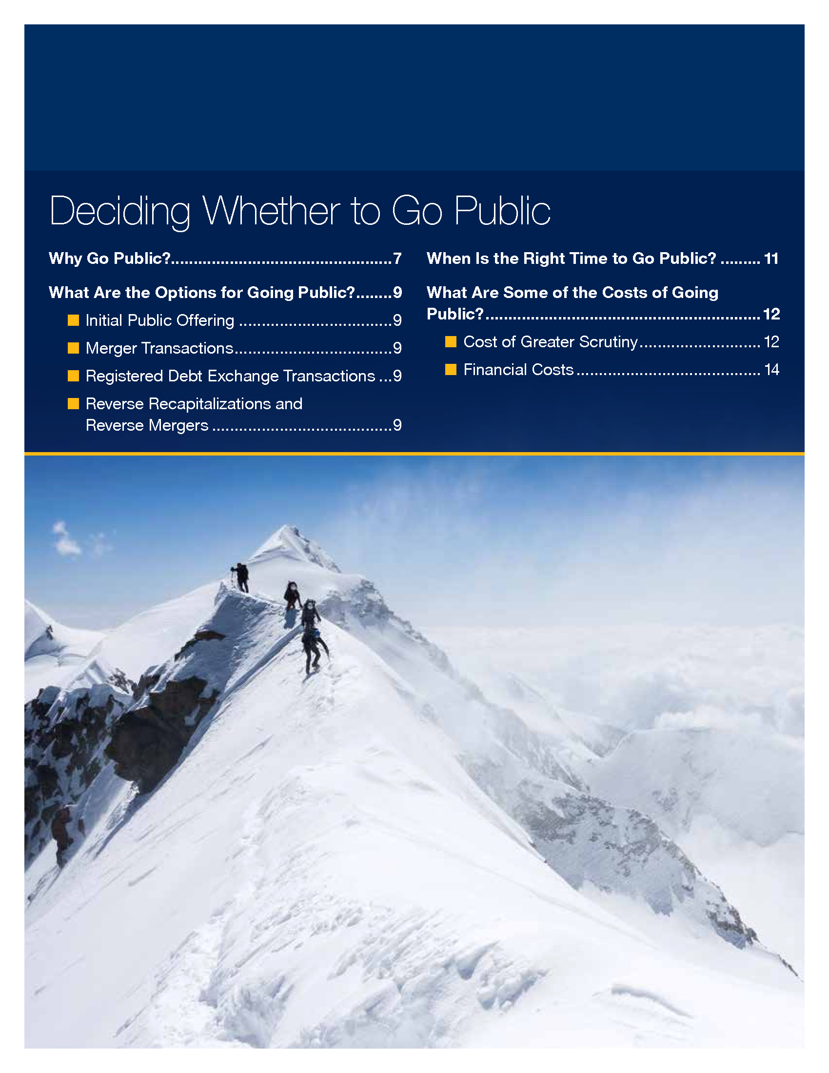Advisorselect - Reaching the Pinnacle - A Guide to Going Public and