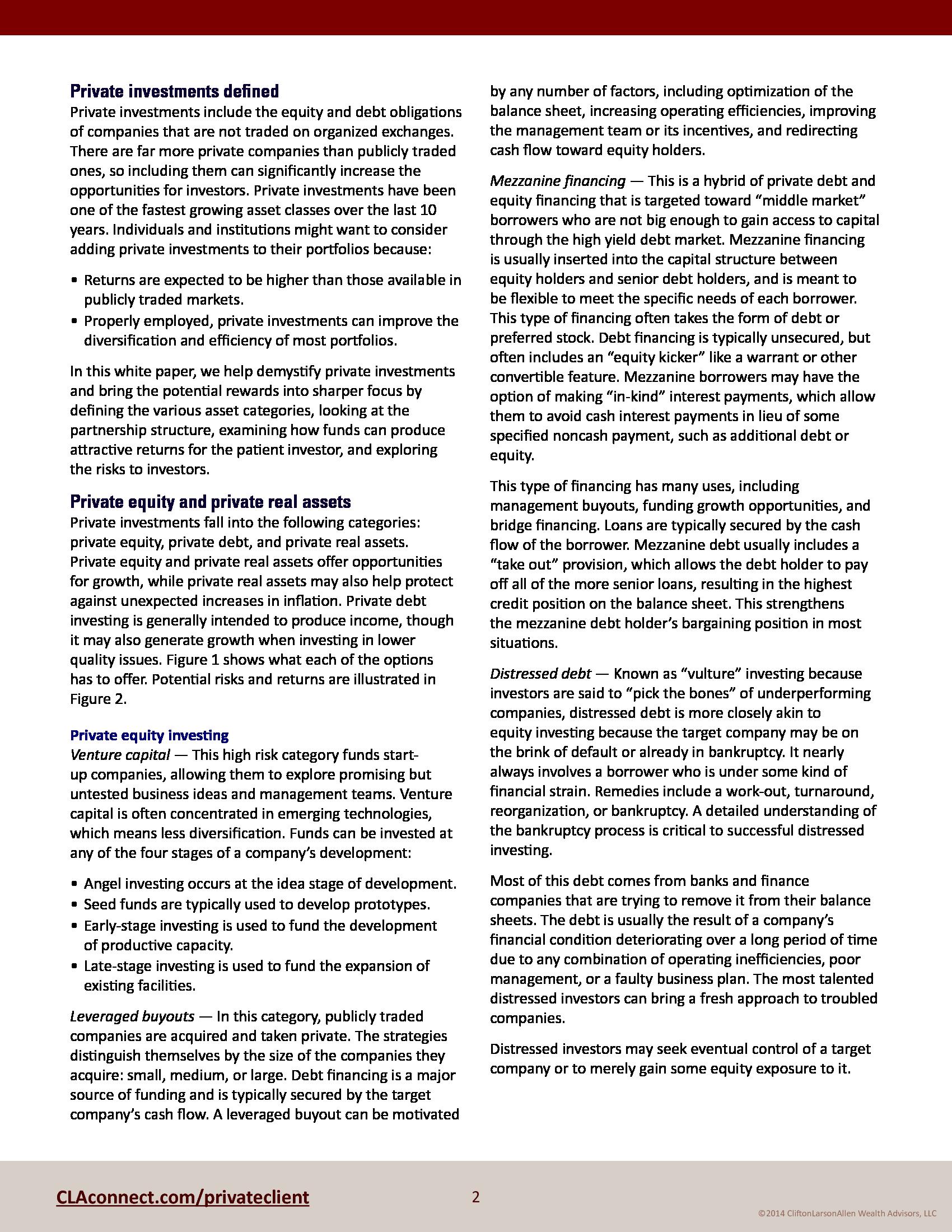 Advisorselect - White Paper : Private Investment