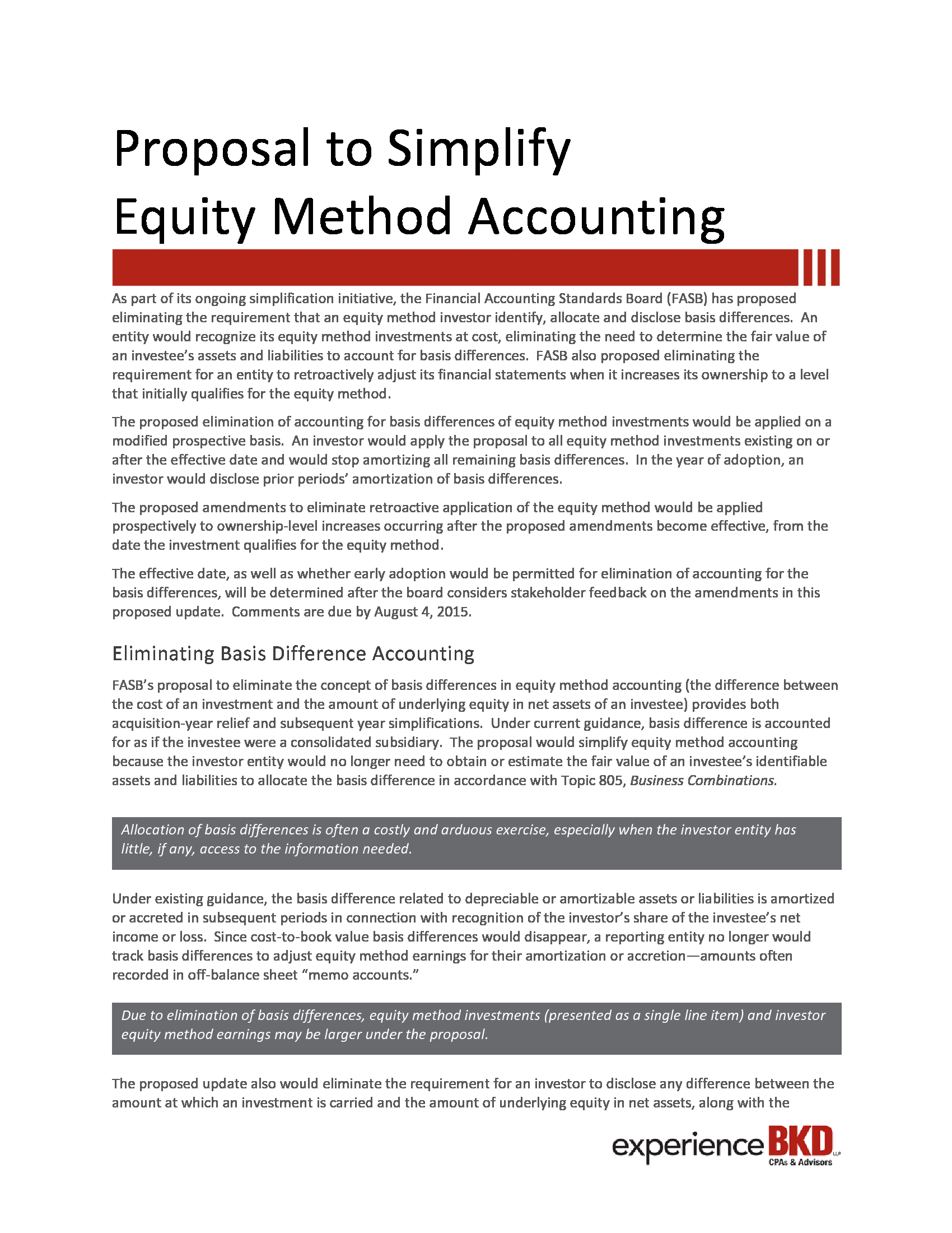 fasb simplification initiative equity method investment