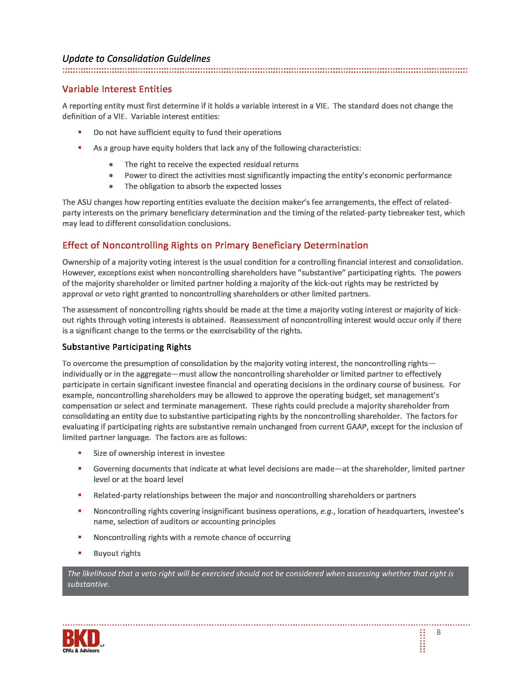 New guidelines issued by gaap for consolidating entities