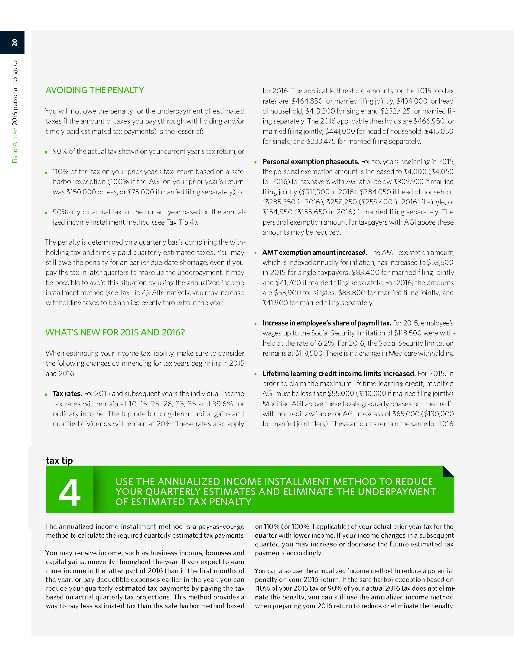 Advisorselect - 2016 Personal Tax Guide and Tax Tips for 2015