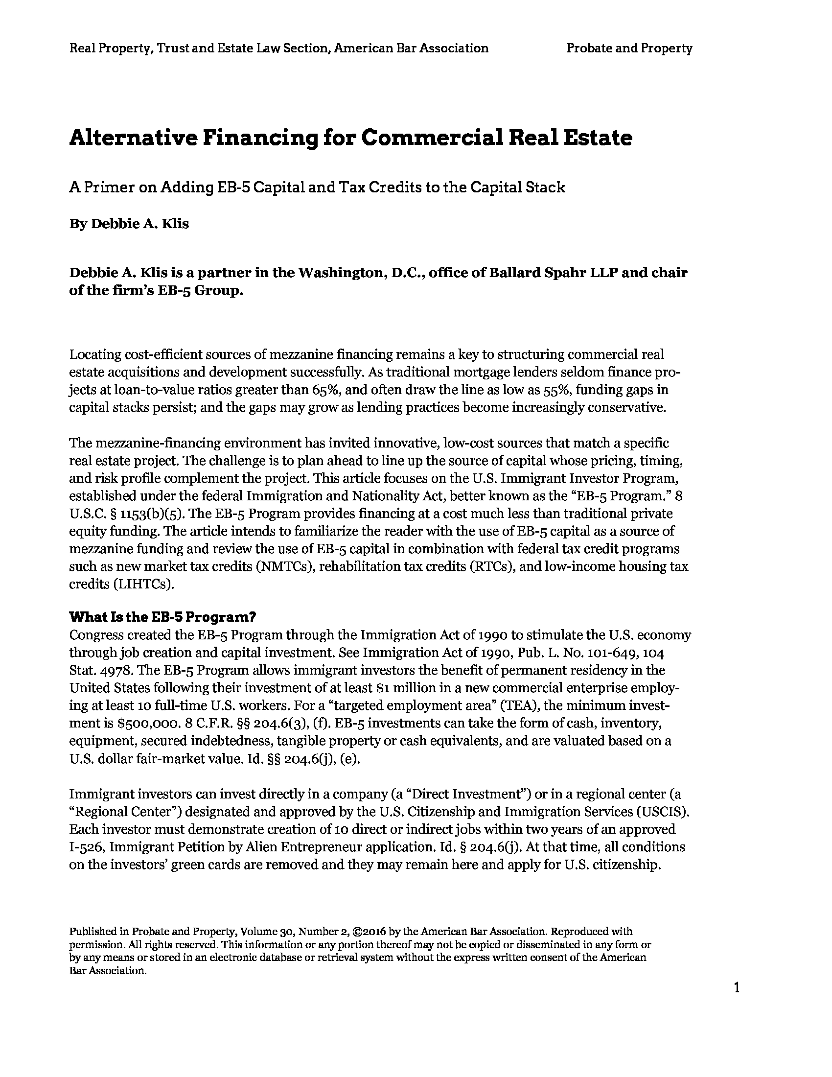 Advisorselect - Alternative Financing for Commercial Real Estate – A