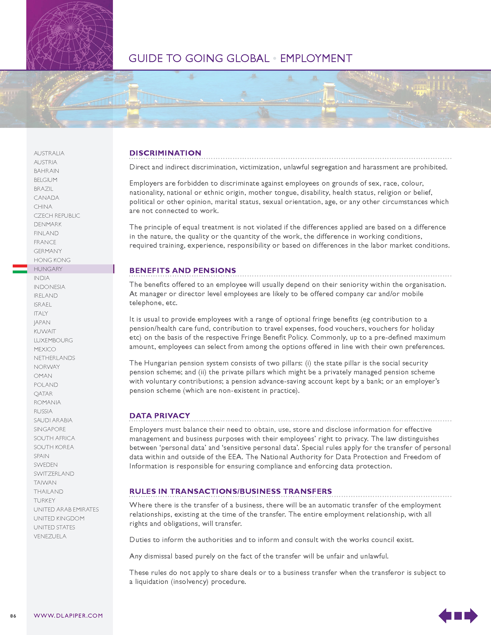 Advisorselect - Guide to Going Global: Employment