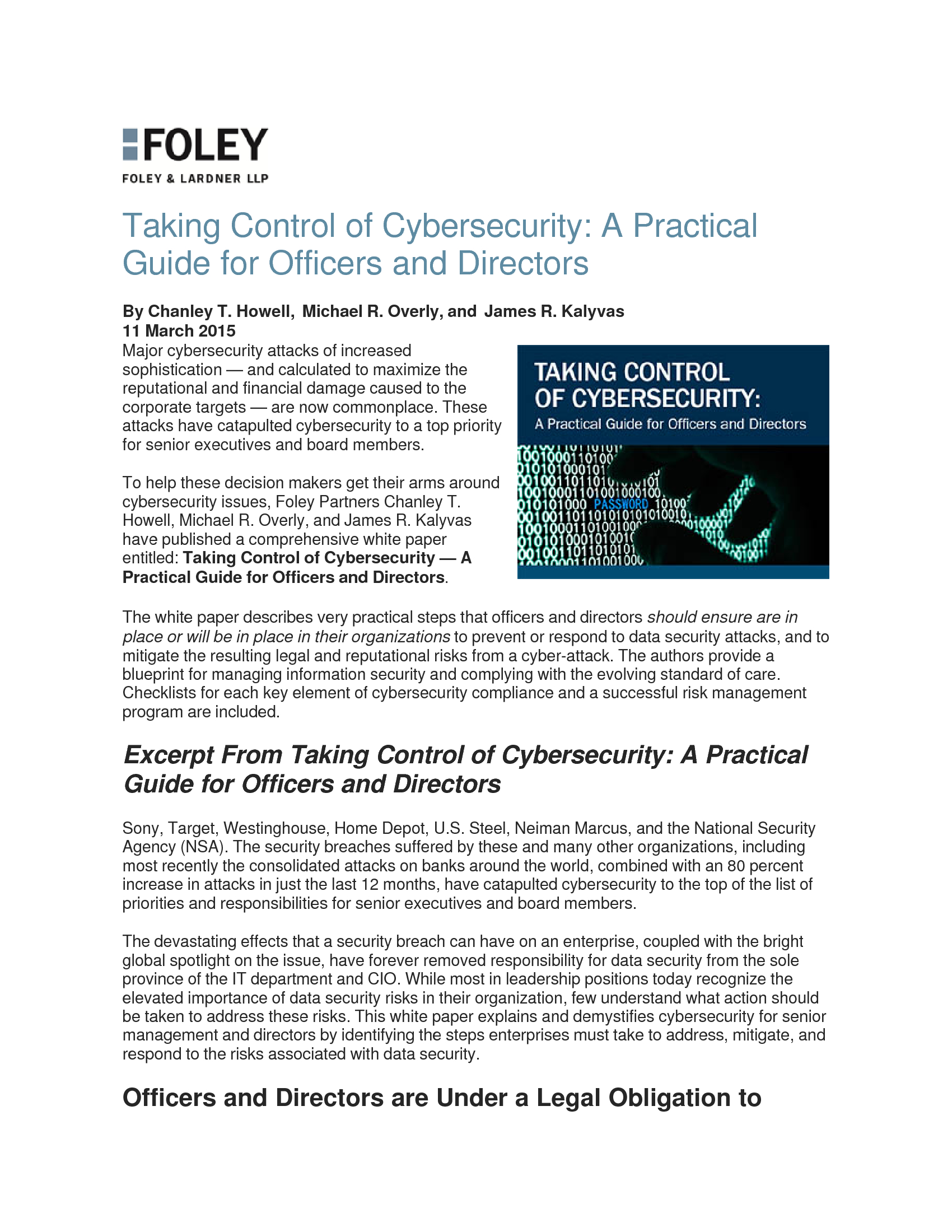 Advisorselect - Taking Control of Cybersecurity: A Practical Guide ...