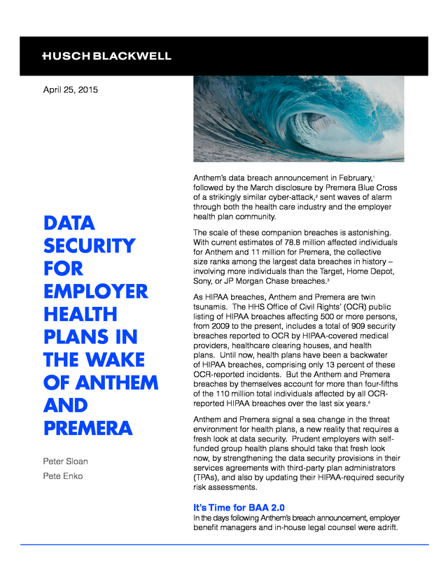 advisorselect data security for employer health plans in the wake
