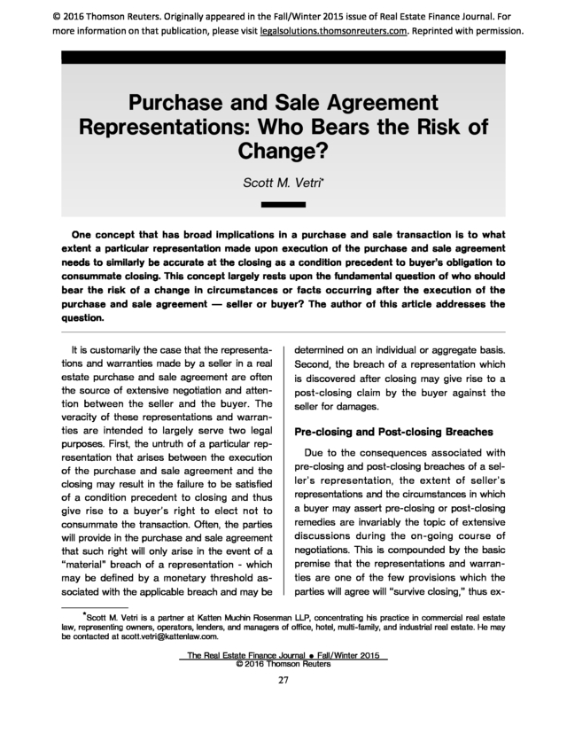 Advisorselect  Purchase And Sale Agreement Representations Who