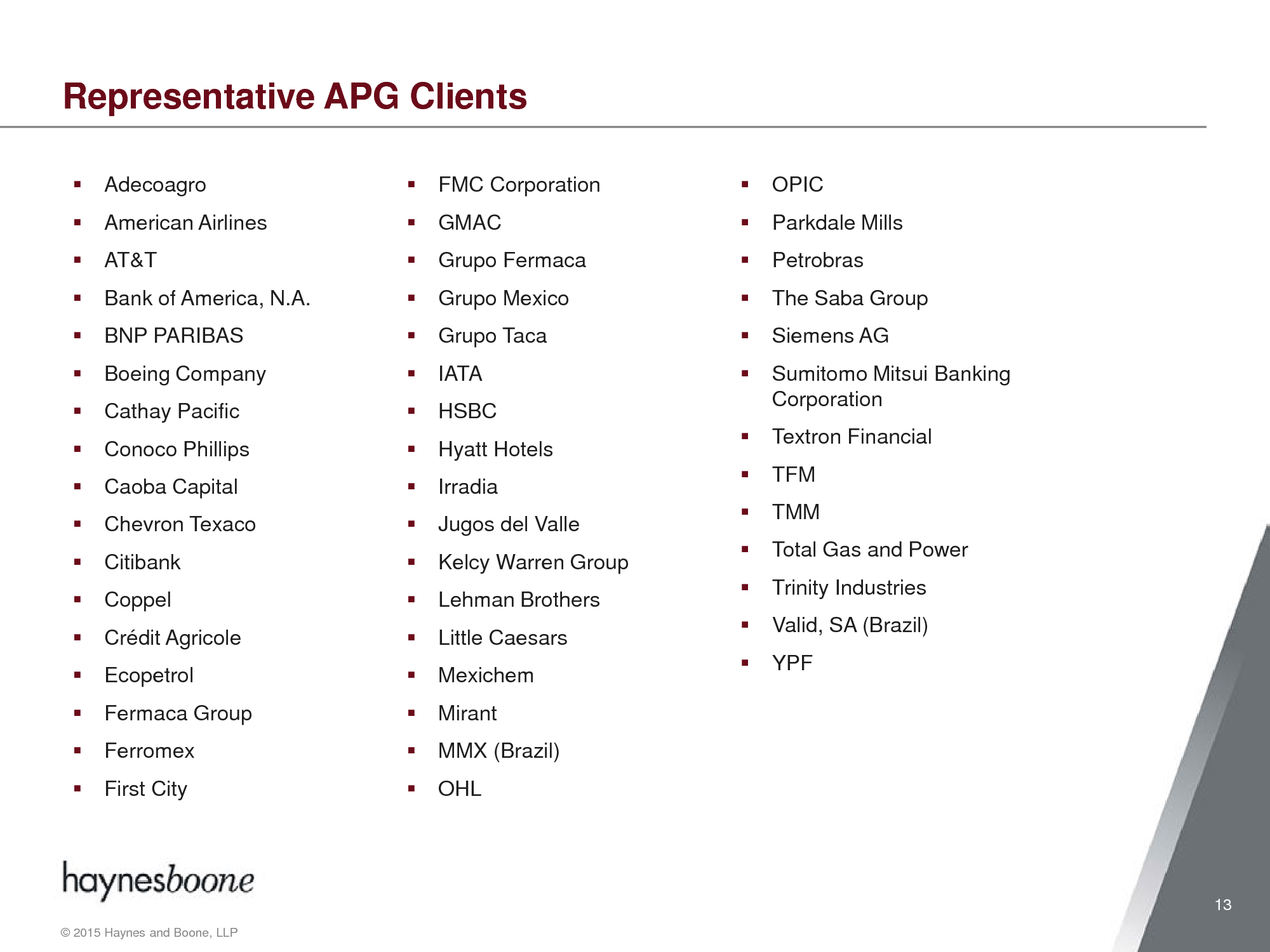Advisorselect - Americas Practice Group Overview – December