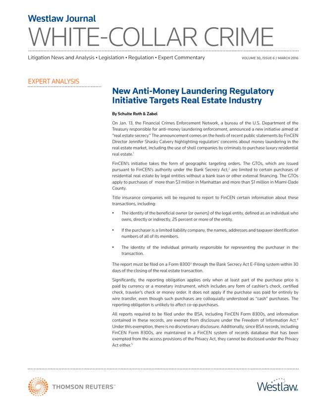 Advisorselect - New Anti-Money Laundering Regulatory
