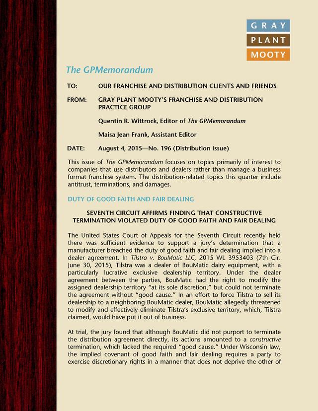 Advisorselect The Gpmemorandum Issue 196 Distribution Issue
