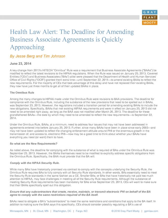 Advisorselect The Deadline For Amending Business Associate