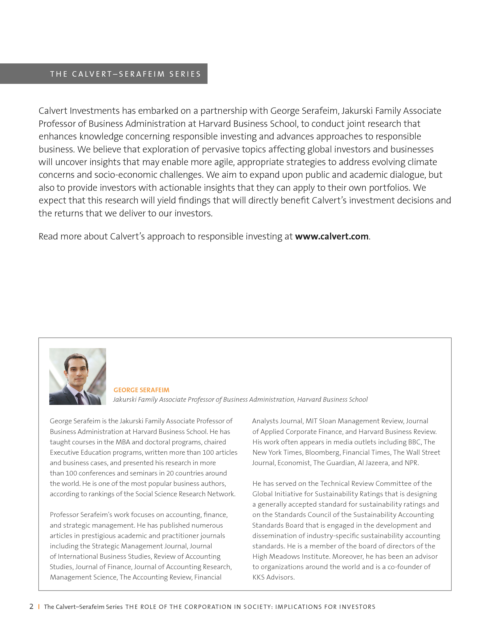 Advisorselect - The Evolving Role Of The Corporation In
