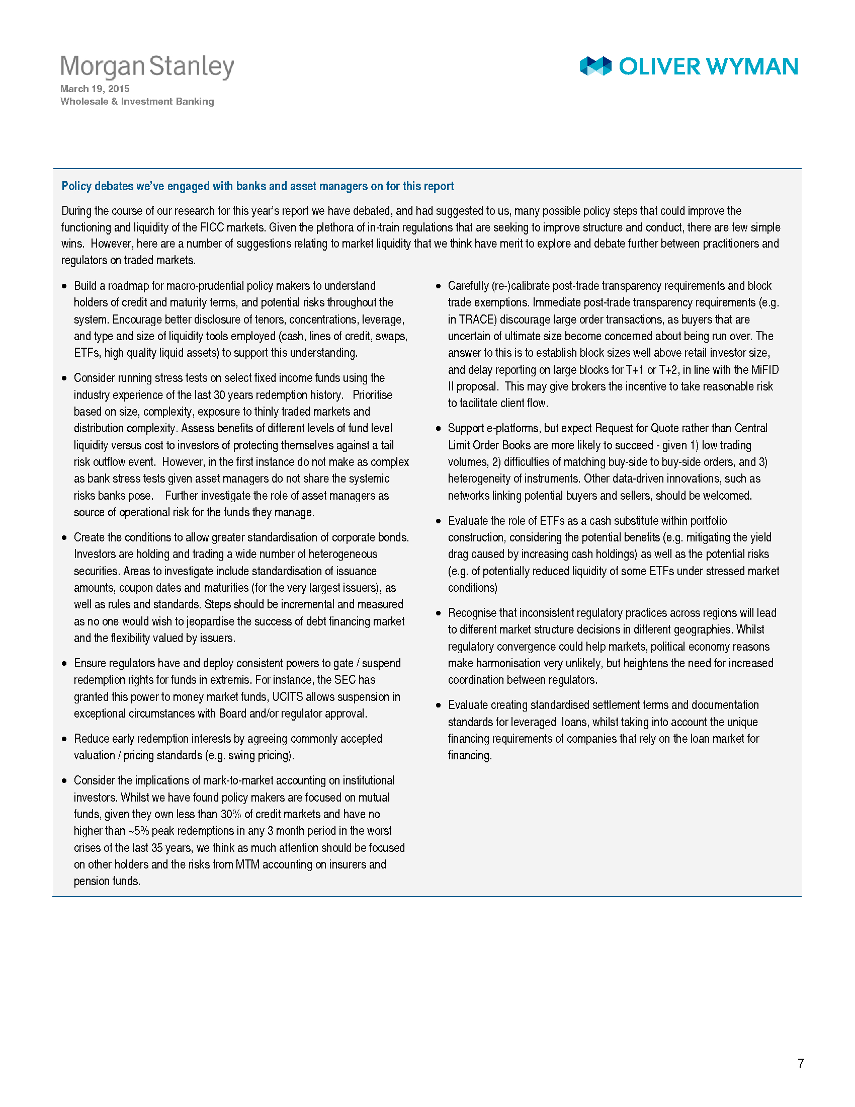 Advisorselect - Wholesale & Investment Banking Outlook - Oliver